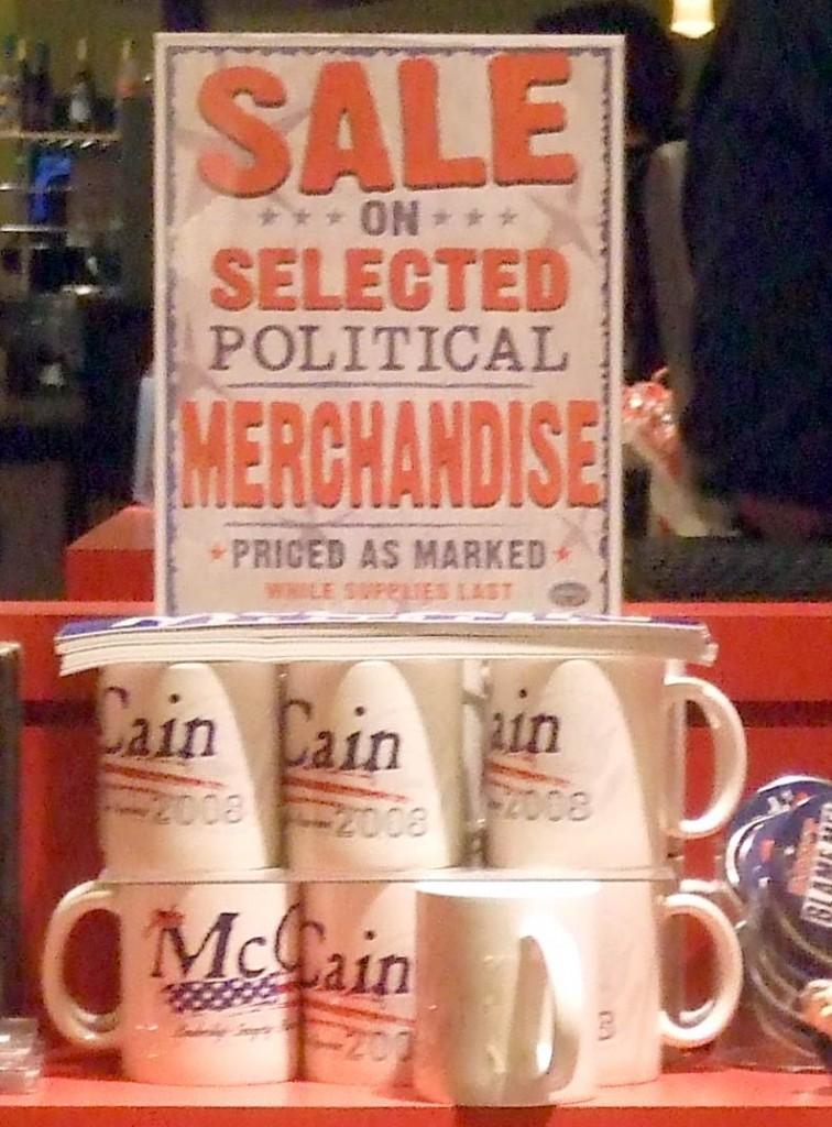 Sale on political merchandise