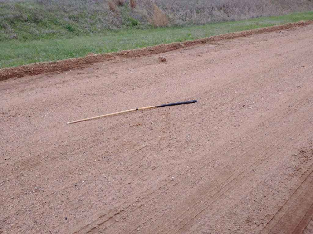 Someone left a pool stick in the road