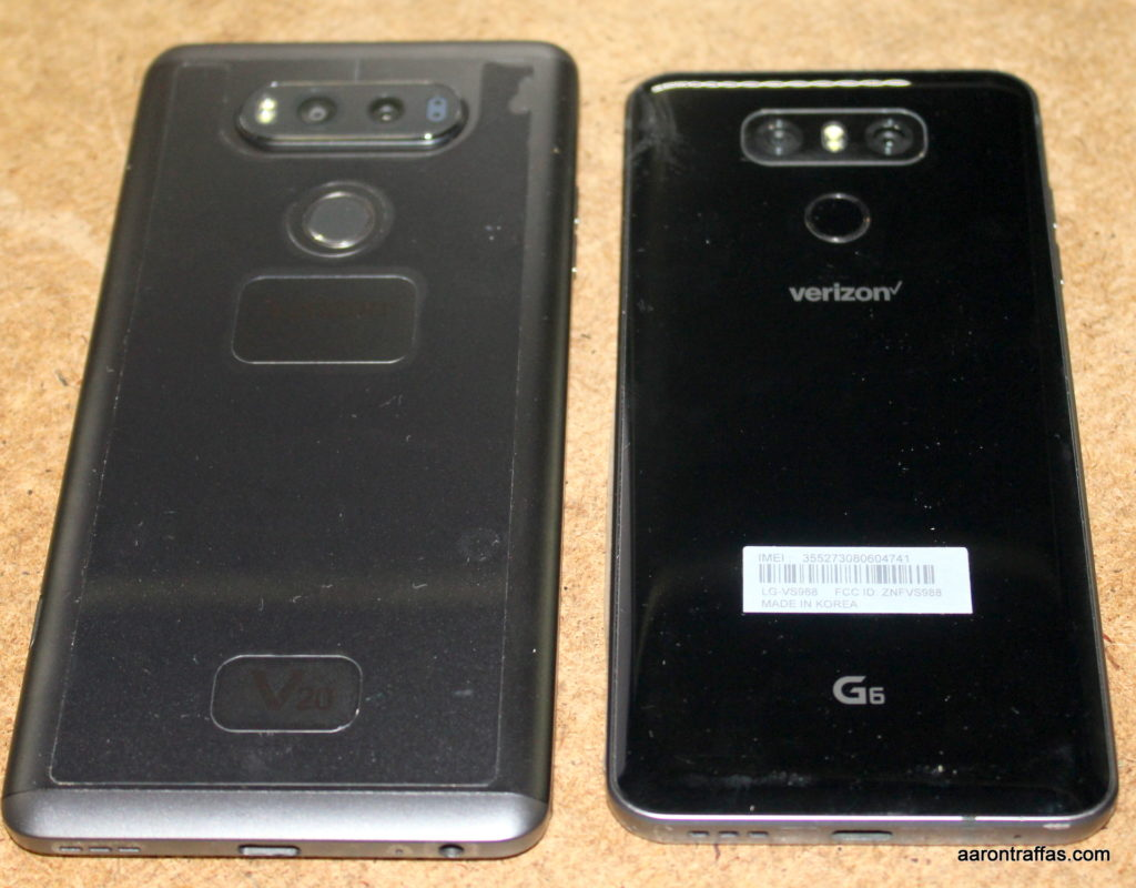 LG V20 and LG G6 back side-by-side comparison