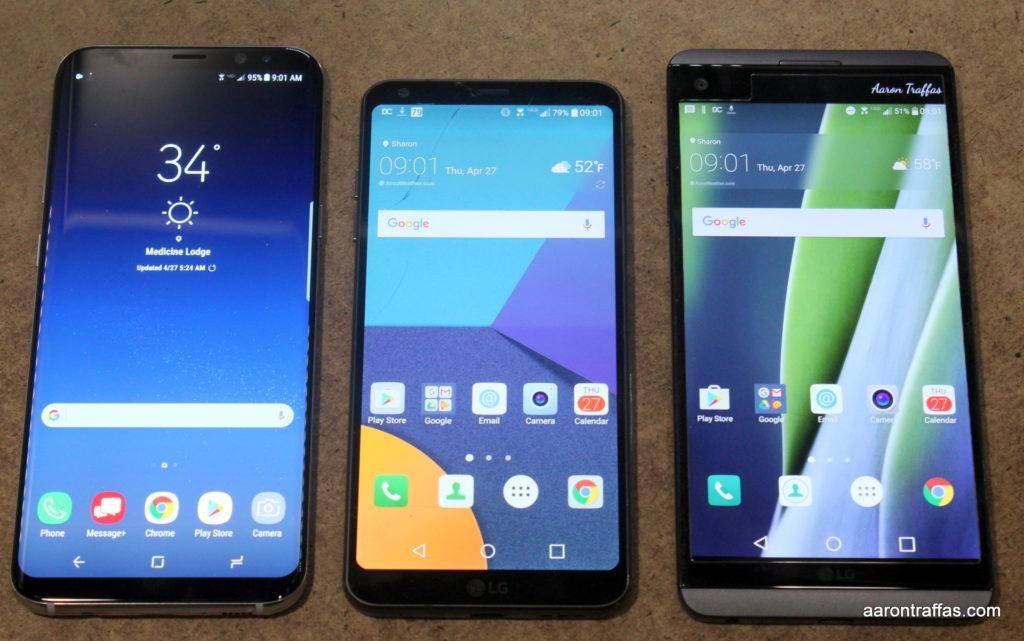 Samsung Galaxy S8+, LG G6, LG V20