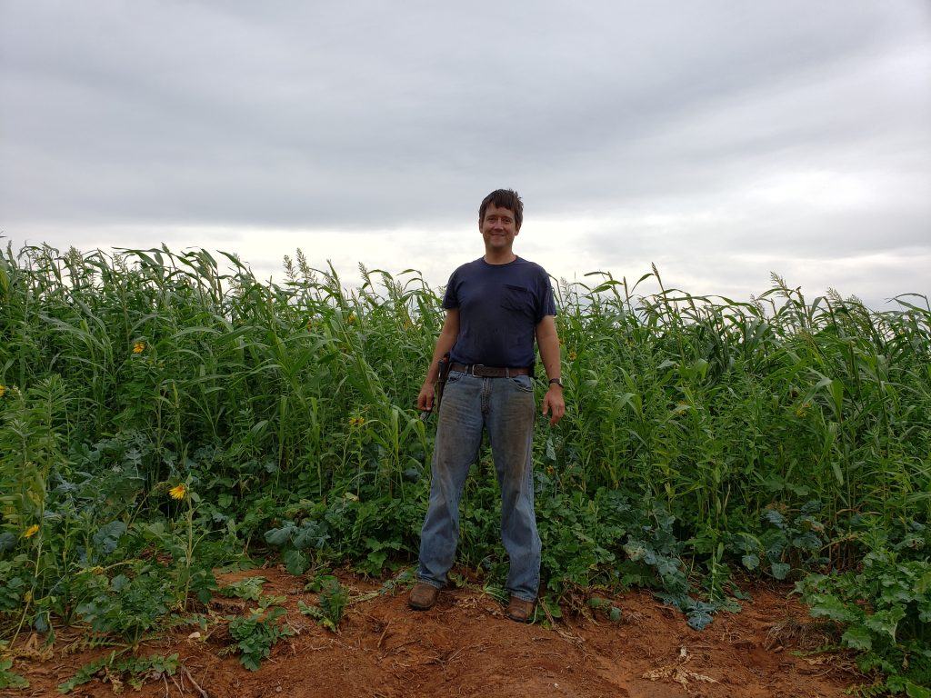 Nolan's picture of Aaron by cover crop